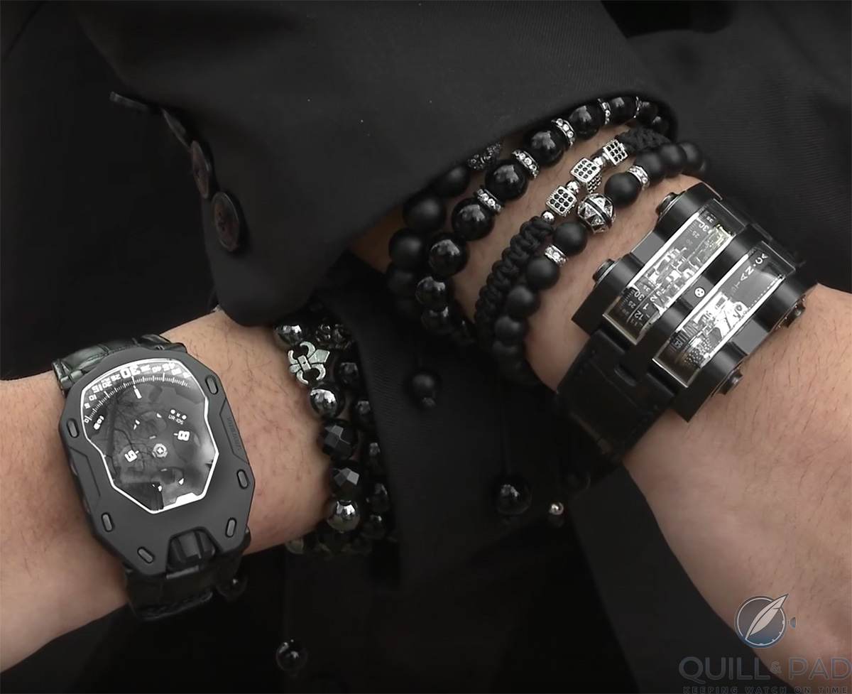 Urwerk UR-105 Dark Knight (left) and black Cabestan Winch on the wrist