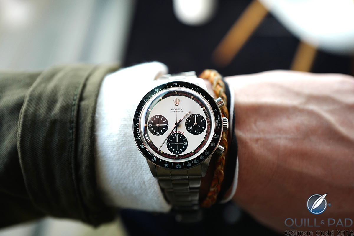 This Rolex Cosmograph Daytona Musketeer Paul Newman Ref. 6264 is Lot 44 at the Phillips Start-Stop-Reset auction of stainless steel chronographs