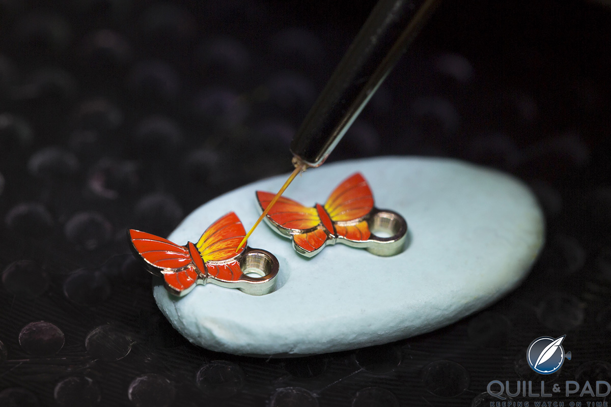 Hand-painted butterflies that act as minute indicators on the Van Cleef & Arpels Lady Arpels Ronde des Papillons (photo courtesy Johann Sauty)