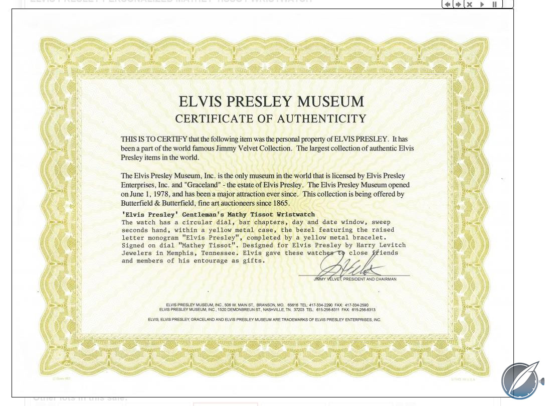 Certificate of authenticity for the Mathey-Tissot Day-Date once owned by Elvis Presley