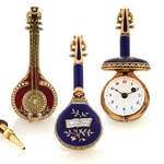 GOLD & ENAMEL MANDOLIN FORM WATCH