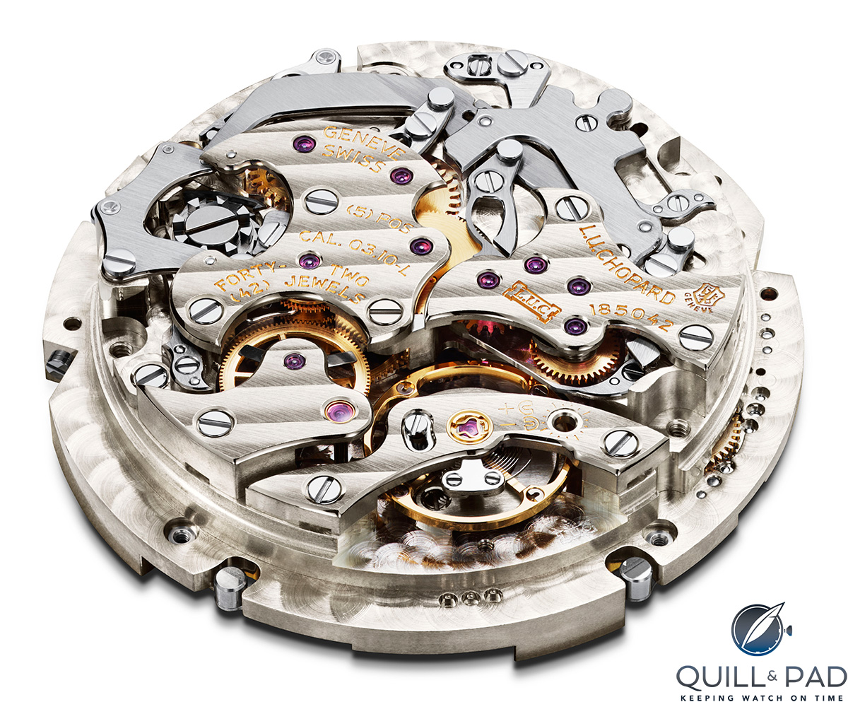 Movement side (back) of the Chopard Caliber L.U.C. 03.10-L at the heart of the Perpetual Chrono