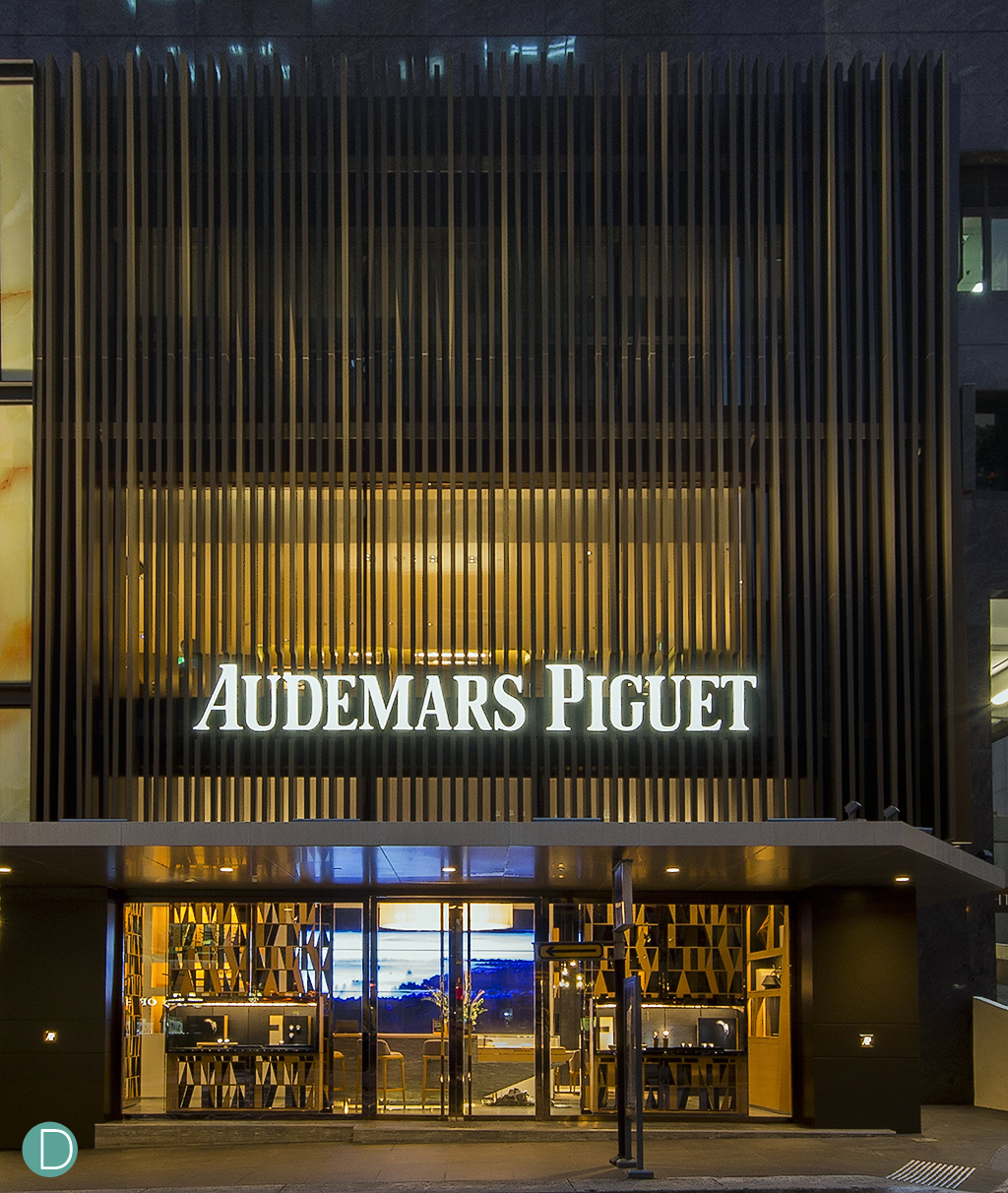 The new facade of the Audemars Piguet Flagship boutique at Liat Towers features a 10 meter high, 3 storey structure.