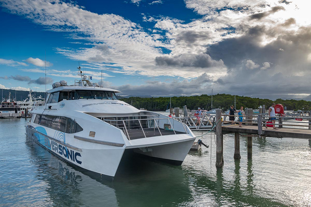 A 150 foot catamaran was chartered to bring journalists to the Great Barrier Reef.