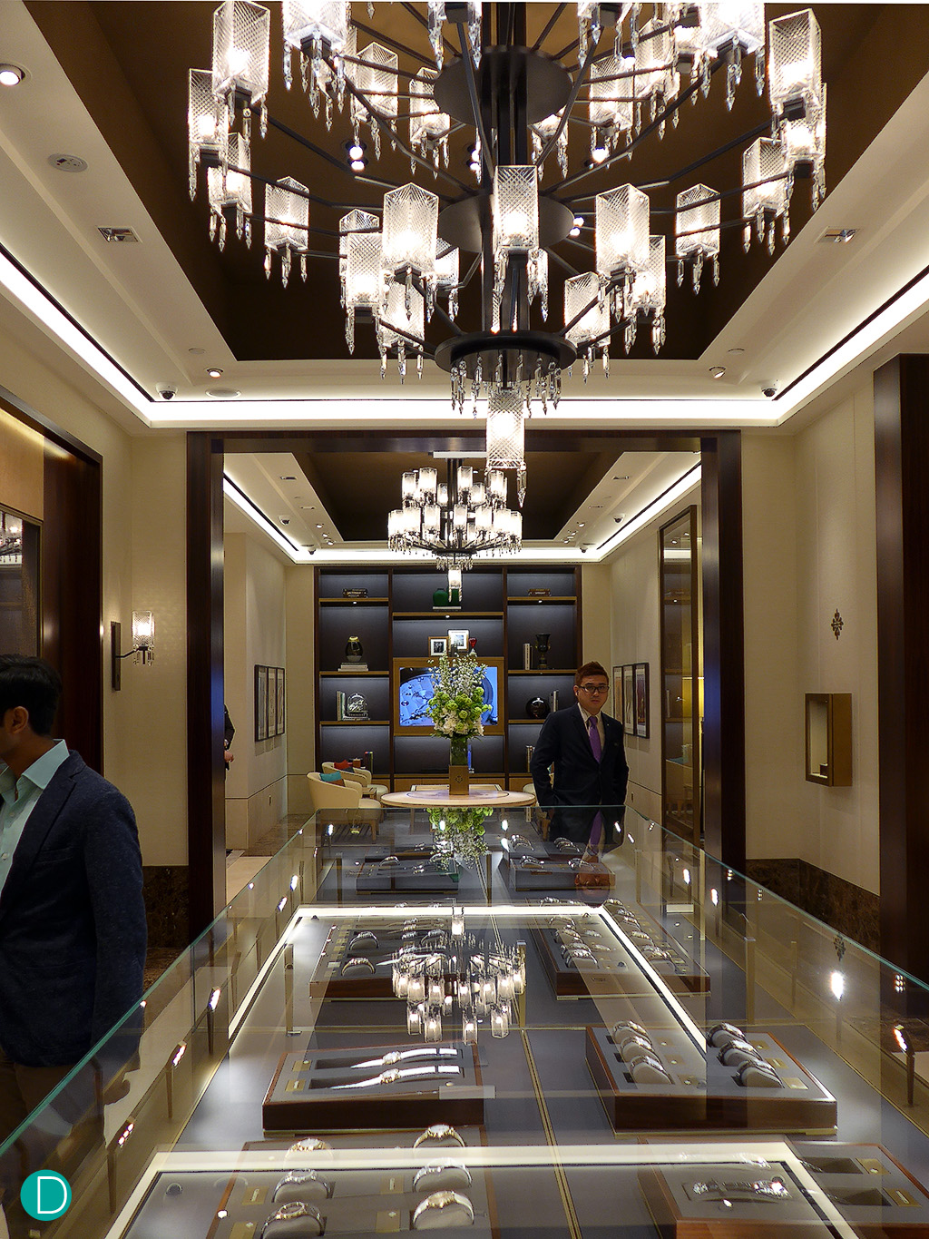 The entrance foyer of the new Patek Philippe boutique, looking towards the left as one enters, into additional rooms which can be closed off for a private customer experience.The showcase is immense, and able to display a larger number of watch replica es replica for sale.