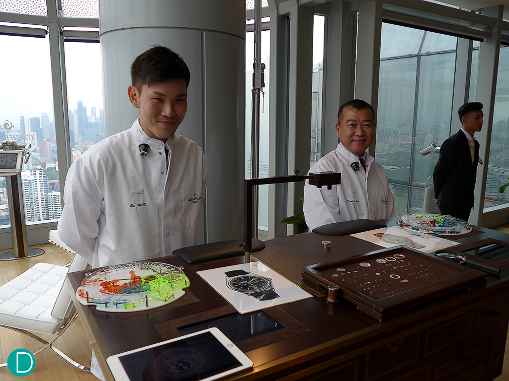 Watchmakers in attendance to explain how the Annual Calendar works. The specific execution of the annual calendar is patented by Patek Philippe.