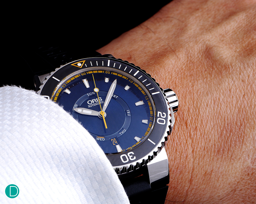 Though 46mm in diameter, it is very large. On a bracelet, the watch replica is very hefty. On the rubber strap, it is decidedly sporty. Not the best with a bespoke suit, but perhaps more at home on a wet suit romping the oceans.