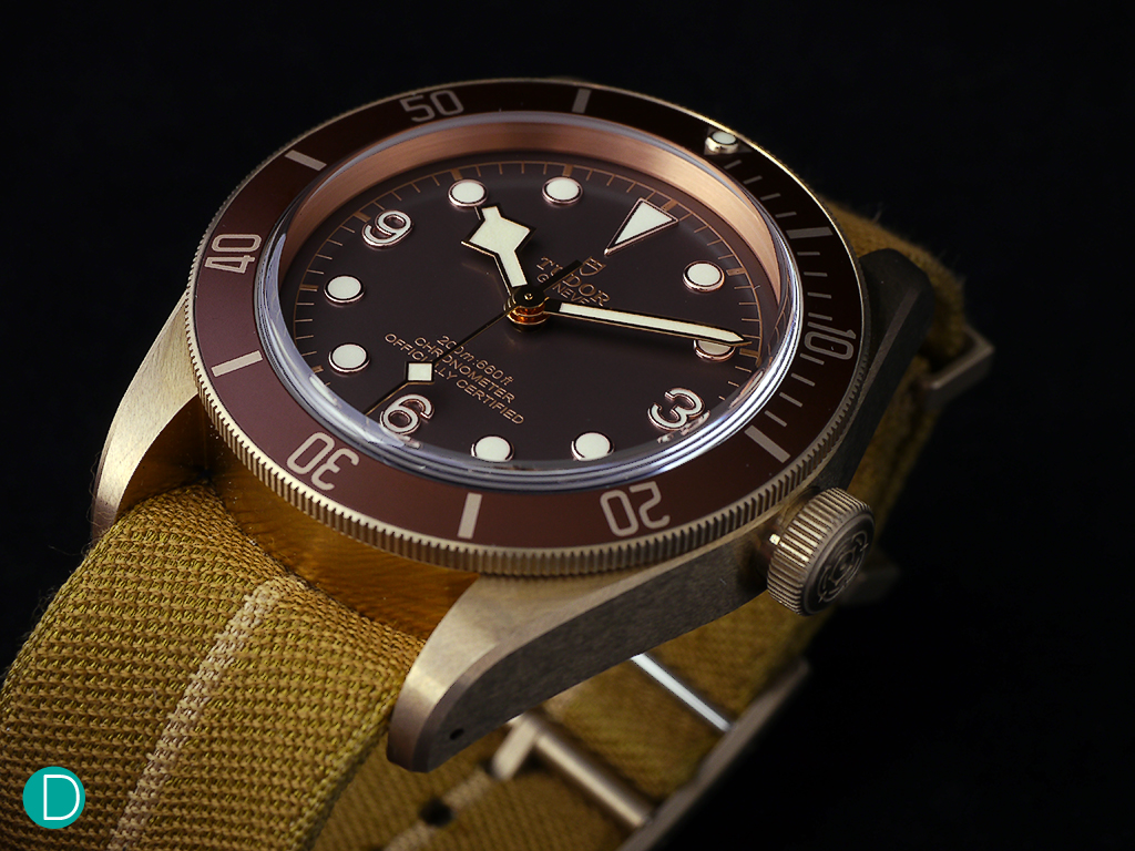 Tudor Black Bay Bronze. 43mm bronze case, shown here fitted with a nylon strap.