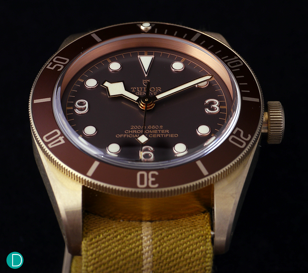 The case of the Black Bay Bronze is sturdy, with design cues taken from vintage Tudor diving watch replica es replica.