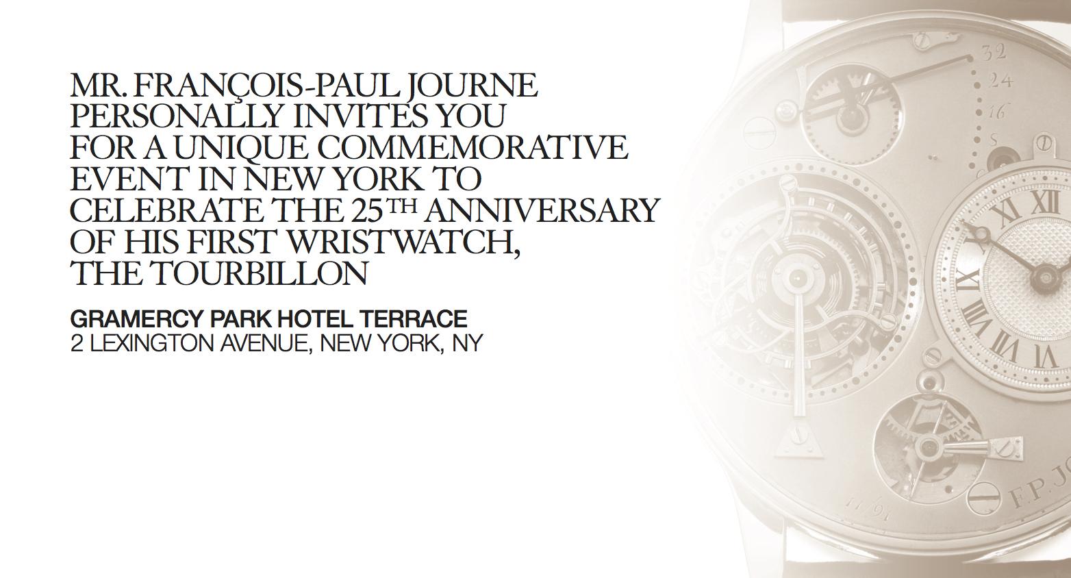 You are invited: invitation to the F.P. Journe Tourbillon Anniversary Event