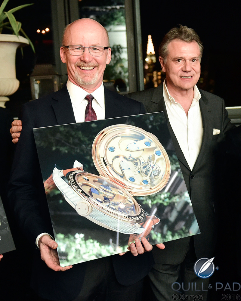 Proud moment: the author with his winning photo of the T30 Anniversary Tourbillon and François-Paul Journe (photo courtesy F.P. Journe)