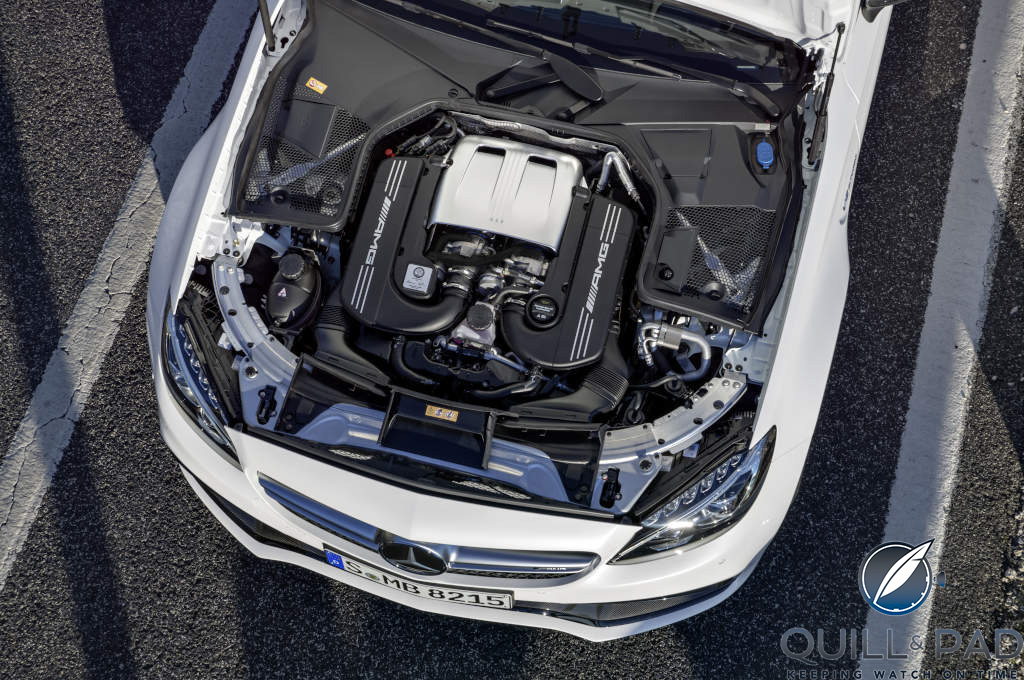 The dual turbo V8 powering the Mercedes-AMG C 63 S
