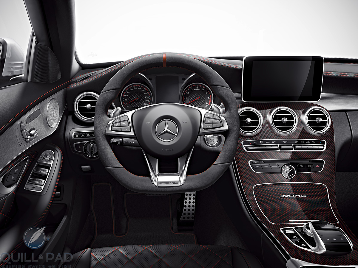 Interior of the Mercedes-AMG C 63 S Coupé: note the IWC dashboard clock