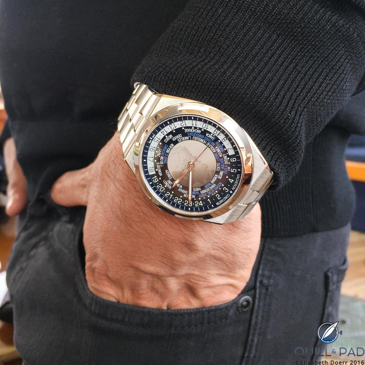 The Vacheron Constantin Overseas worldtimer with a blue dial