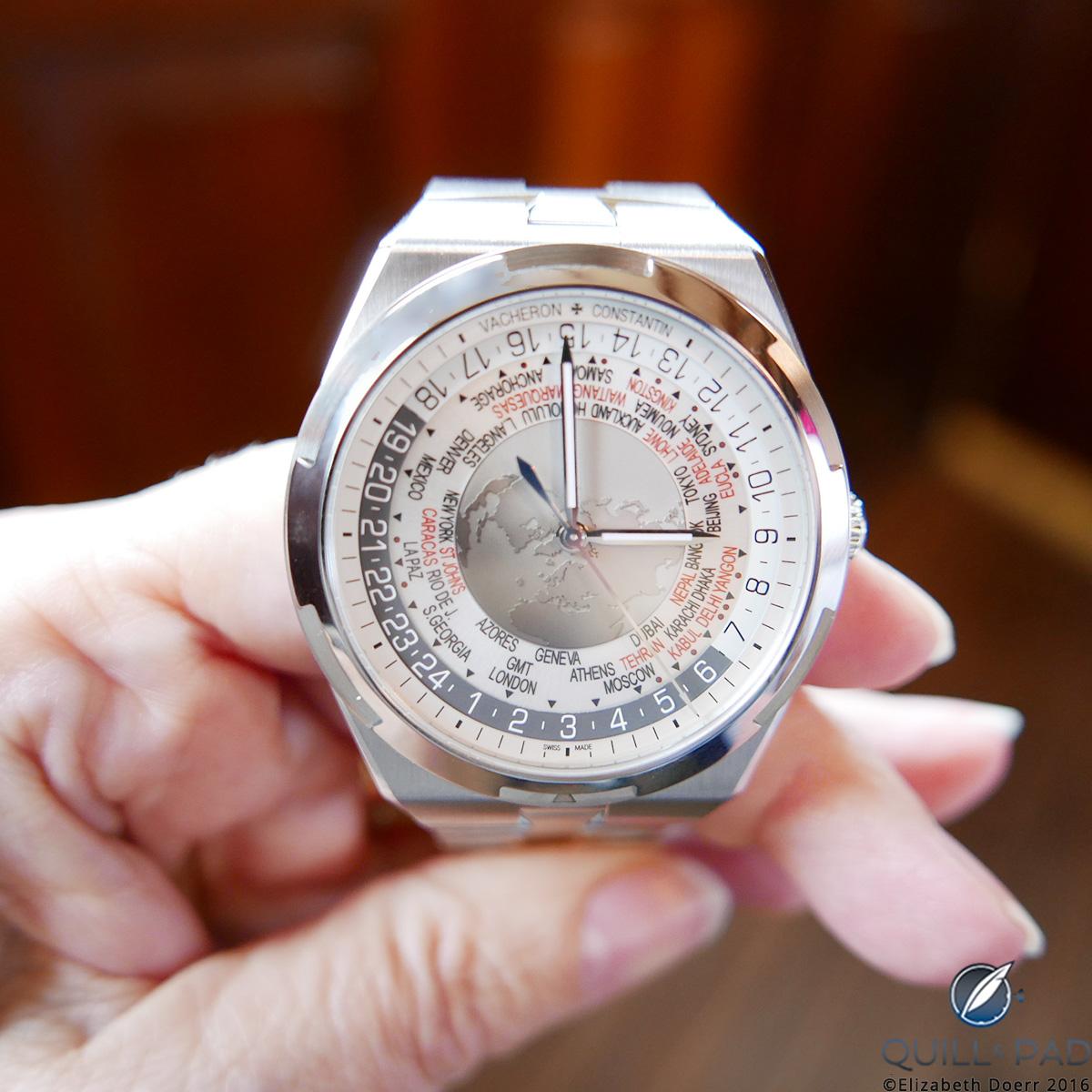The Vacheron Constantin Overseas worldtimer with a brown dial