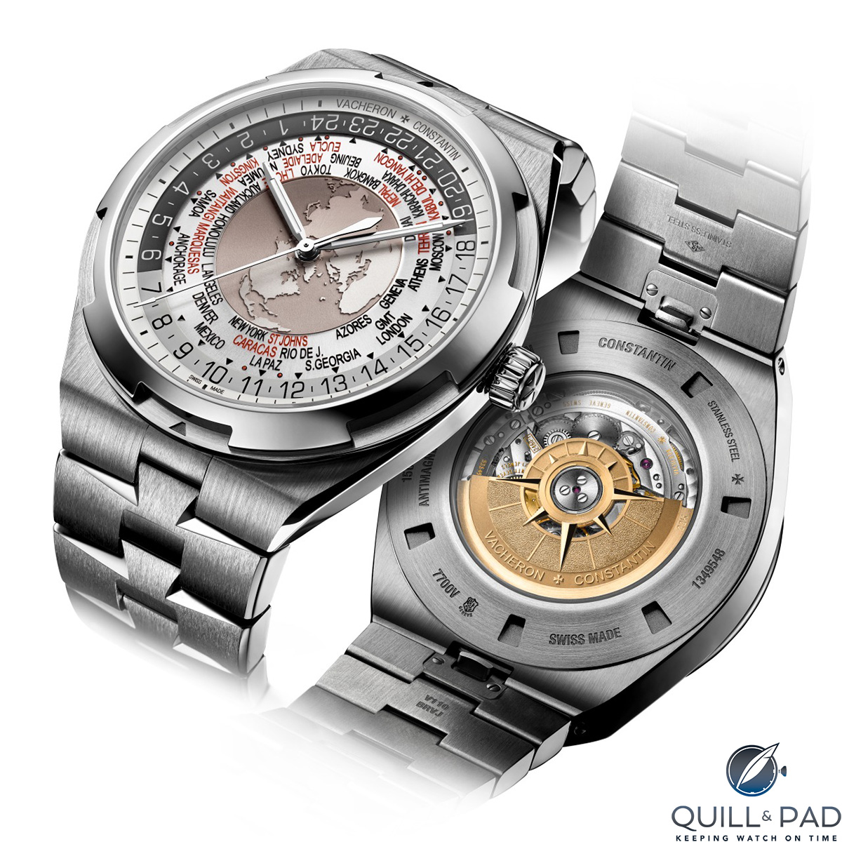 Vacheron Constantin Overseas Worldtimer from the back: check out the rotor's windrose design