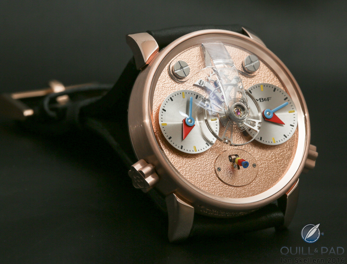 A look dial side of the MB&F LM1 Silberstein in red gold with frosted