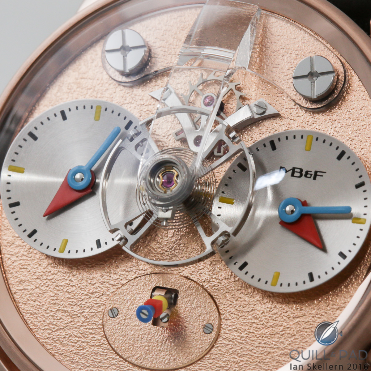 A close look at the dial side of the MB&F LM1 Silberstein in red gold with frosted