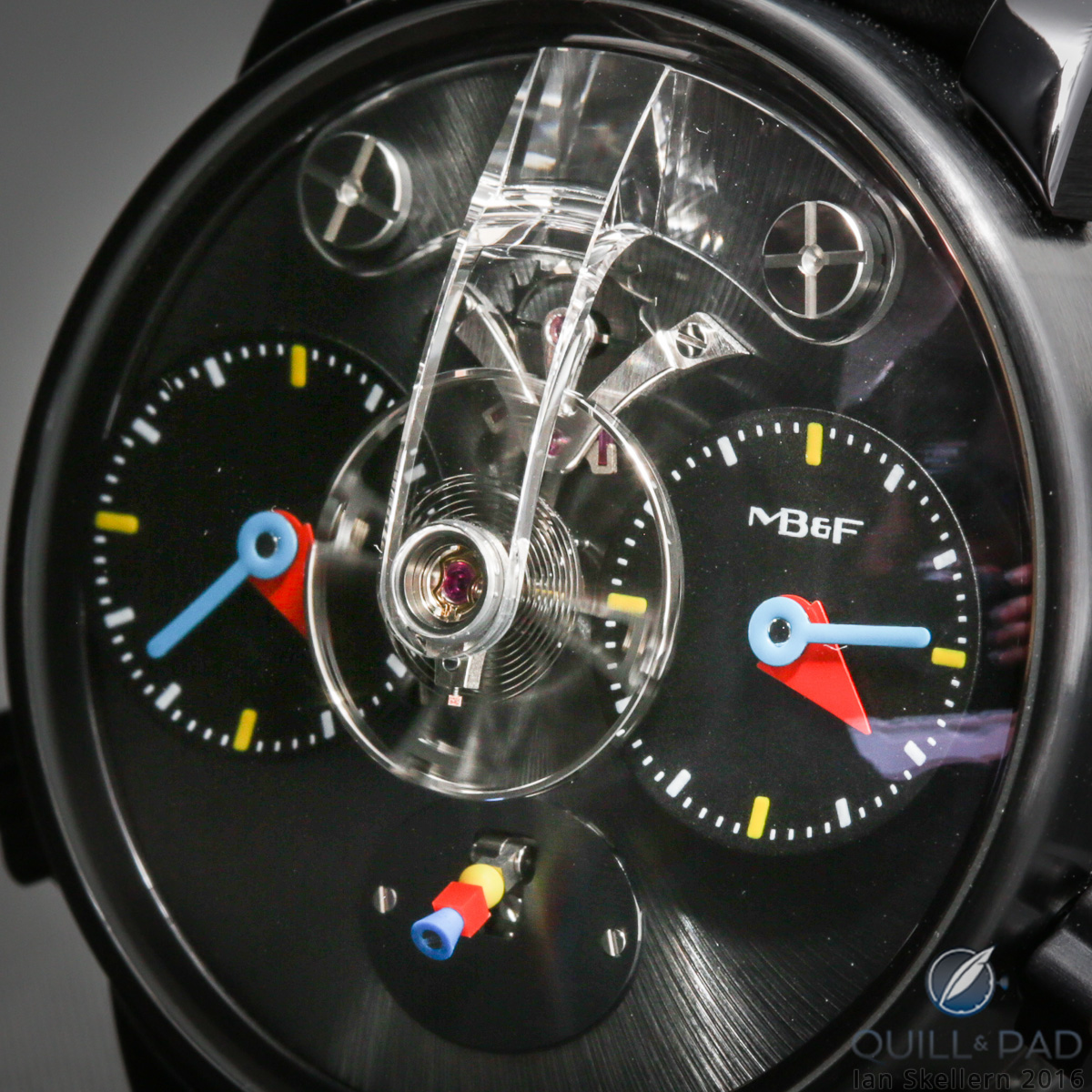A close look at the dial side of the MB&F LM1 Silberstein in blackened titanium