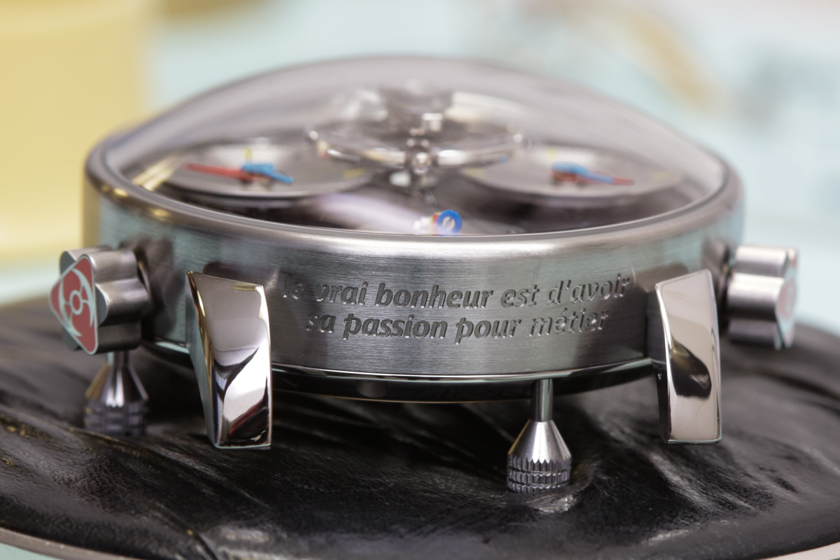 This MB&F timepiece bears the Silberstein tagline: