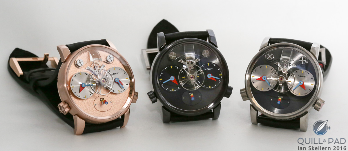 The MB&F LM1 Silberstein in (L-R) red gold with frosted dial, blackened titanium, and natural titanium