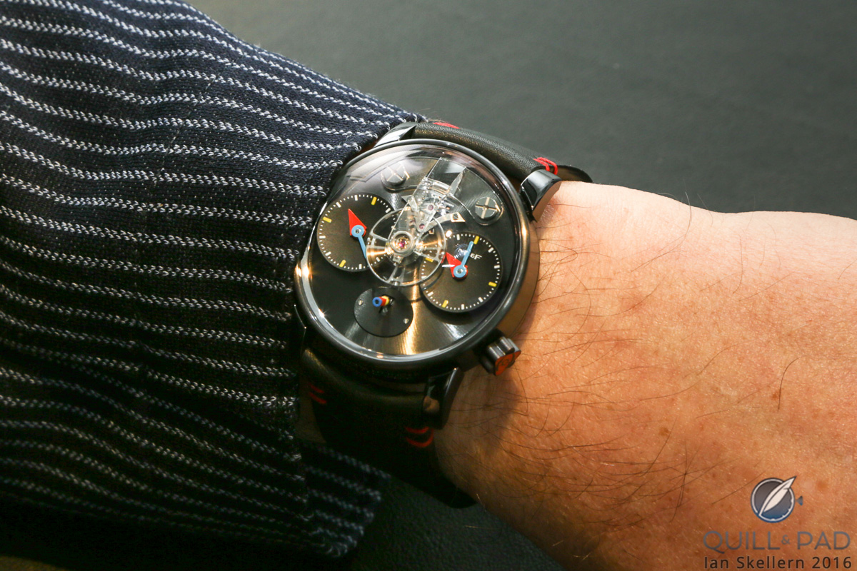 MB&F LM1 Silberstein black on the wrist of Alain Silberstein