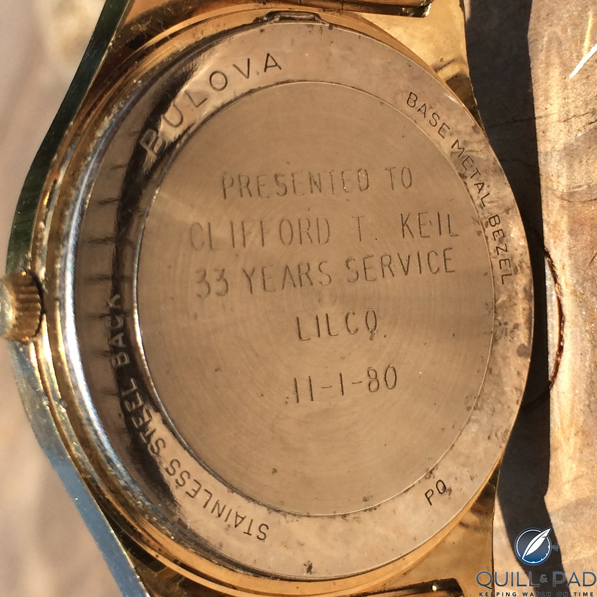 Case back engraving on my Bulova Accutron commemorating Pop-Pop's 33 years of service