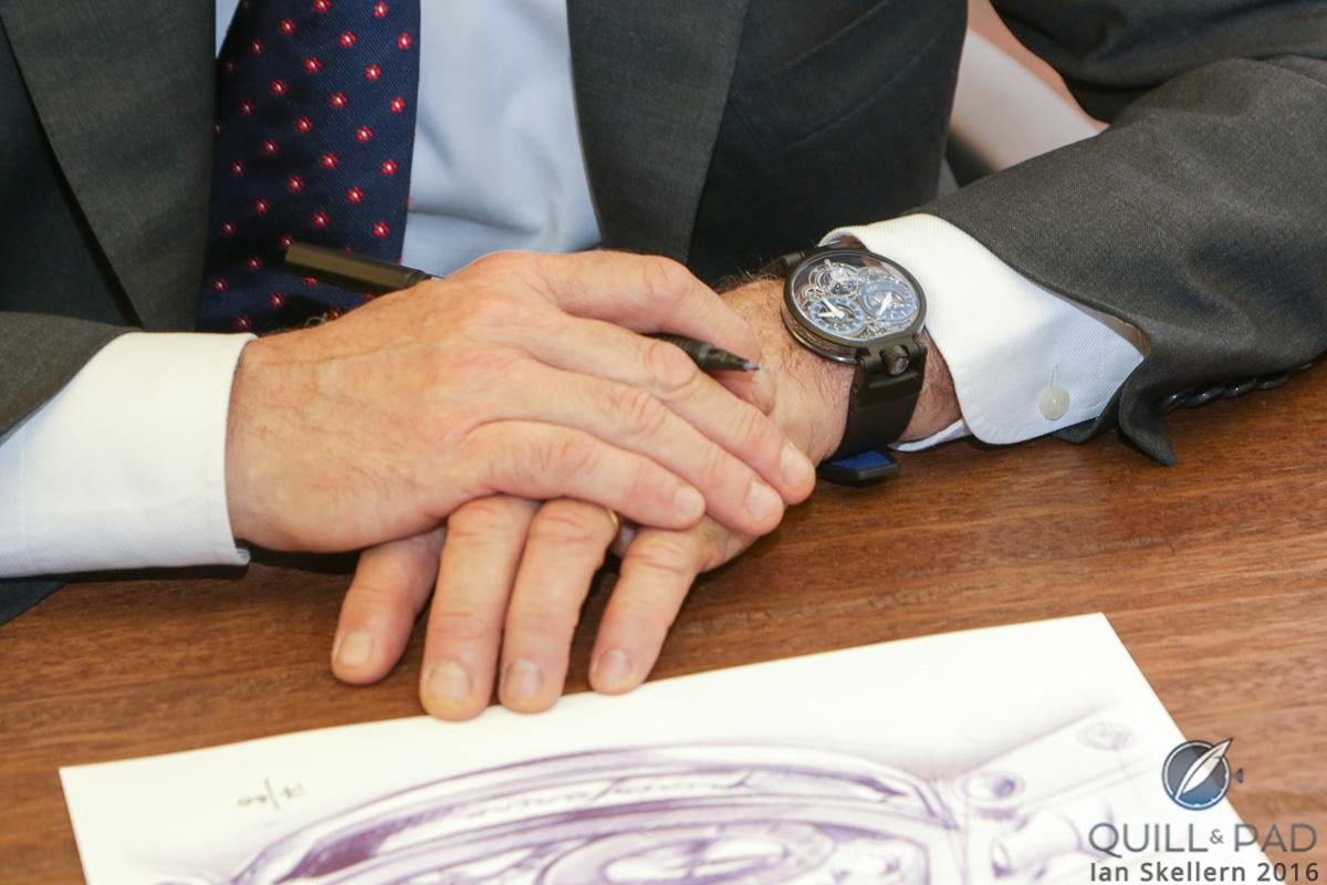 Bovet Ottantasei Tourbillon on the wrist of Pininfarina CEO Paulo Pininfarina