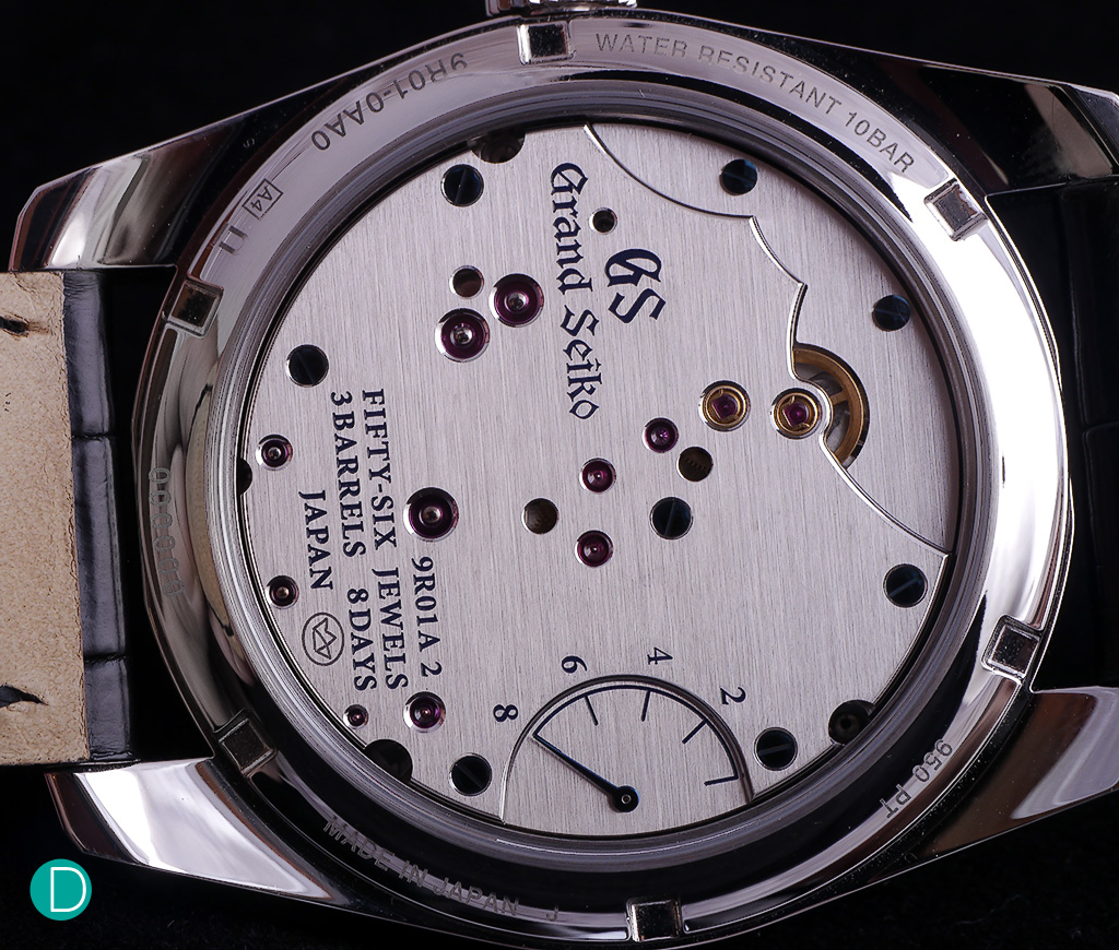 From the caseback, the movement is visible, as well as a power reserve indicator. Placed at the back of the movement so as to reduce the clutter on the dial, enabling Seiko to achieve a very clean, elegant watch replica face.
