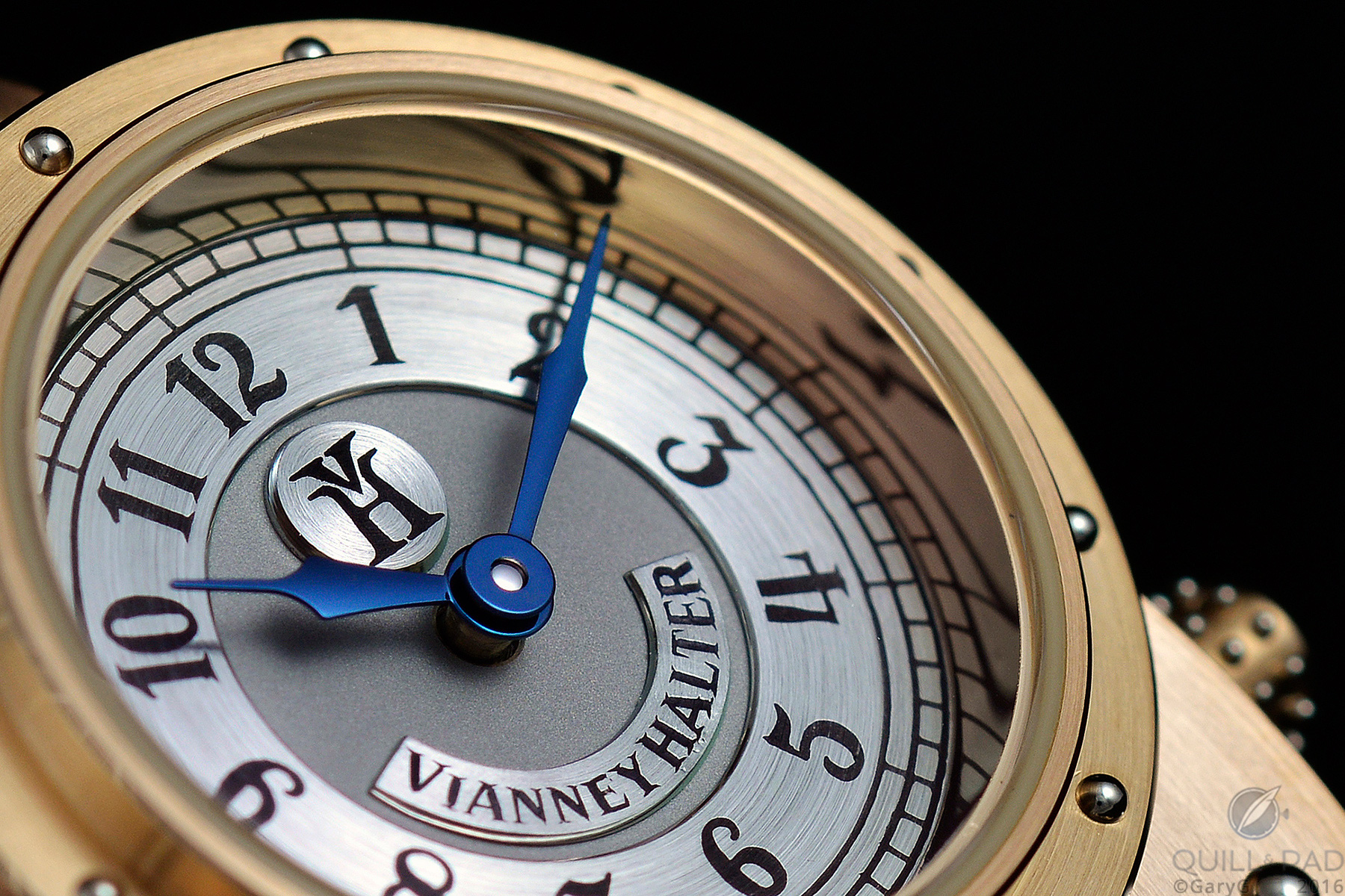 Dial detail, Vianney Halter Antiqua: highlighting the blued hands