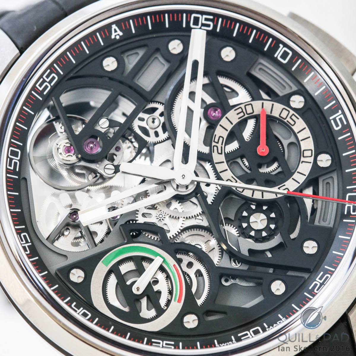 Close look dial side of the Angelus U30 Tourbillon Rattrapante