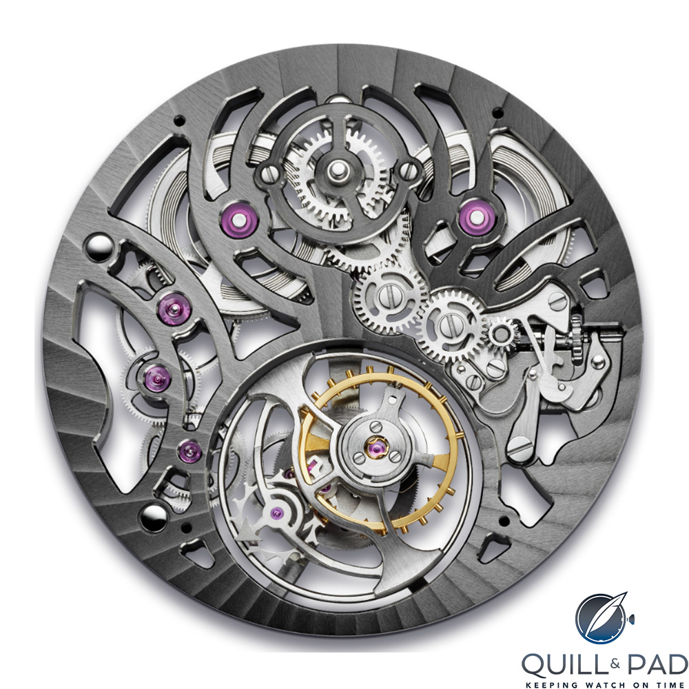 Top of the movement of the Arnold & Son UTTE Skeleton