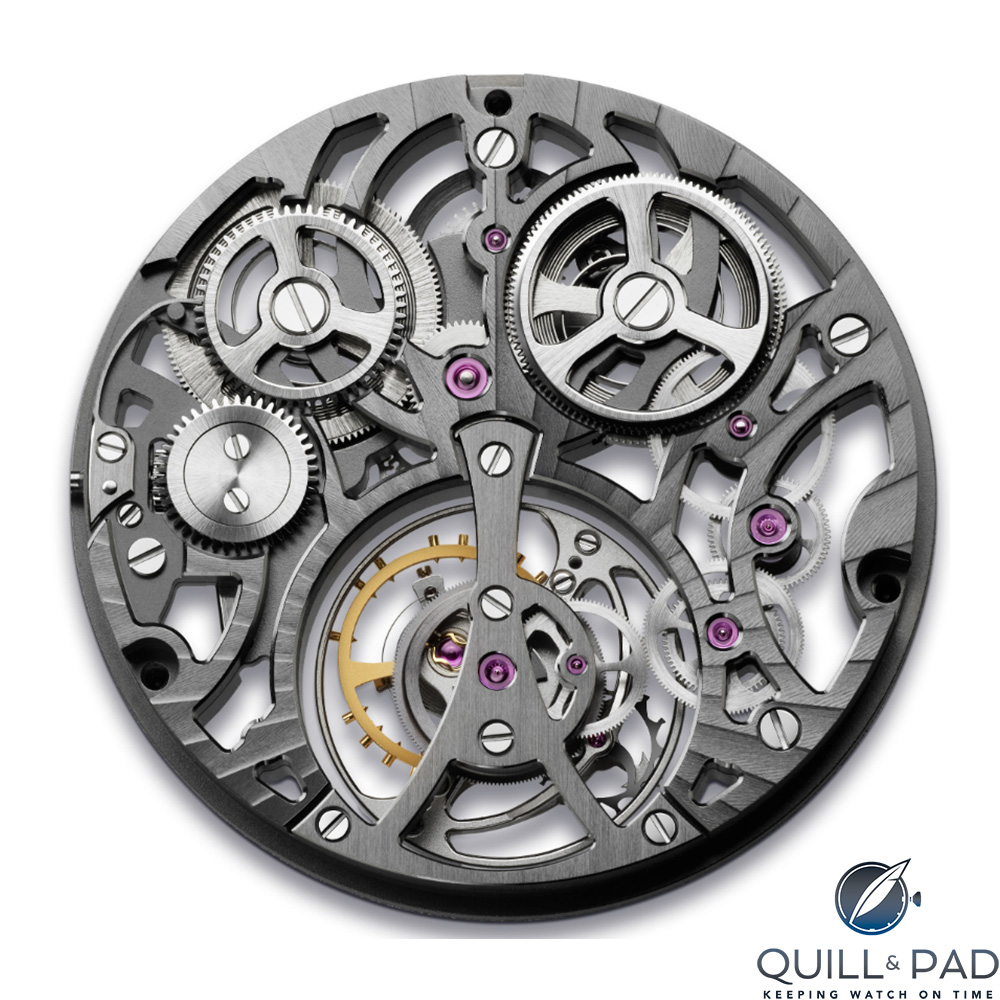 Back of the movement of the Arnold & Son UTTE Skeleton