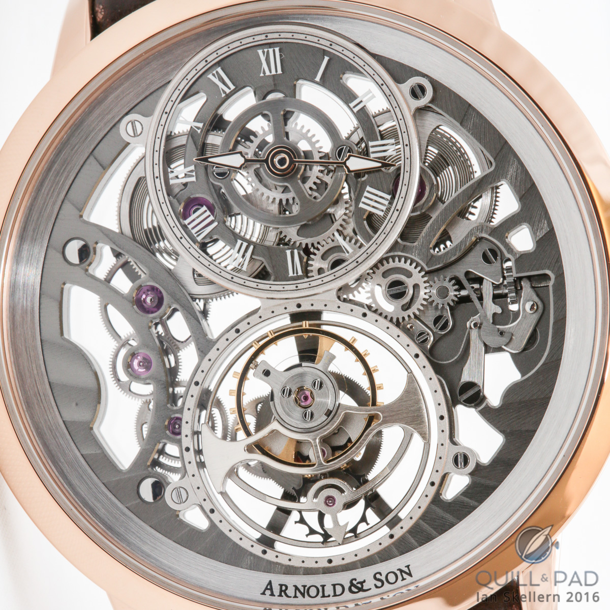 Close look dial side of the Arnold & Son UTTE Skeleton