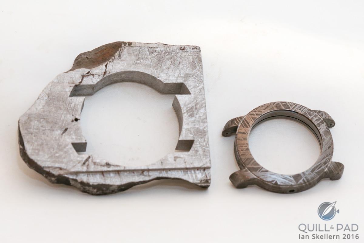 Case of the Antoine Preziuso Stella Polare Tourbillon Muonionalusta cut from slice of meteorite