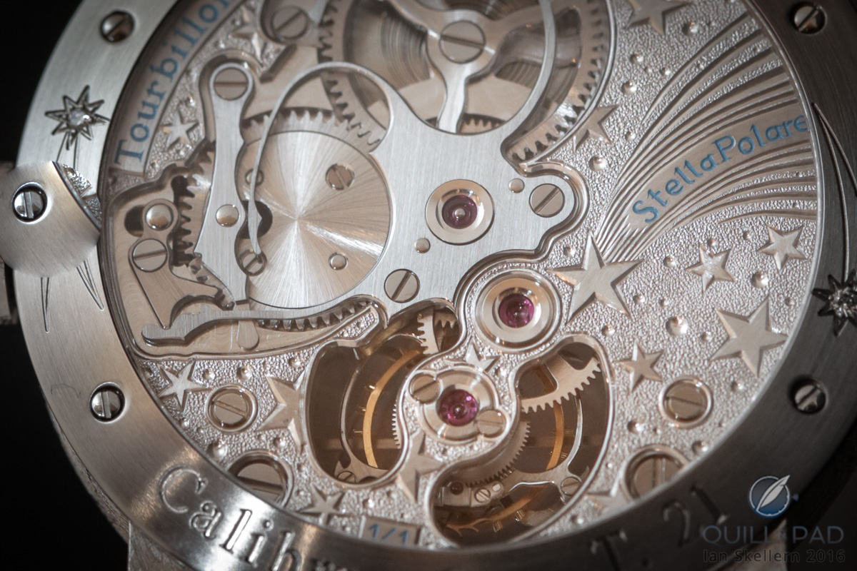 Close up look at the back of the Antoine Preziuso Stella Polare Tourbillon Muonionalusta