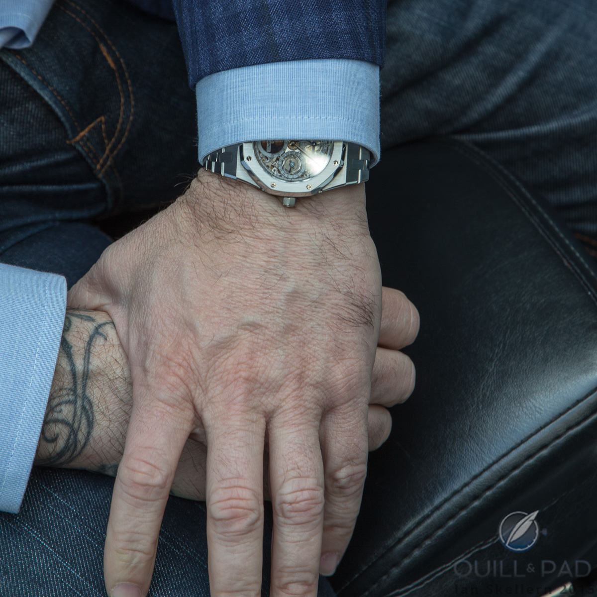 Mo Coppoletta wearing his Royal Oak Perpetual Calendar Skeleton
