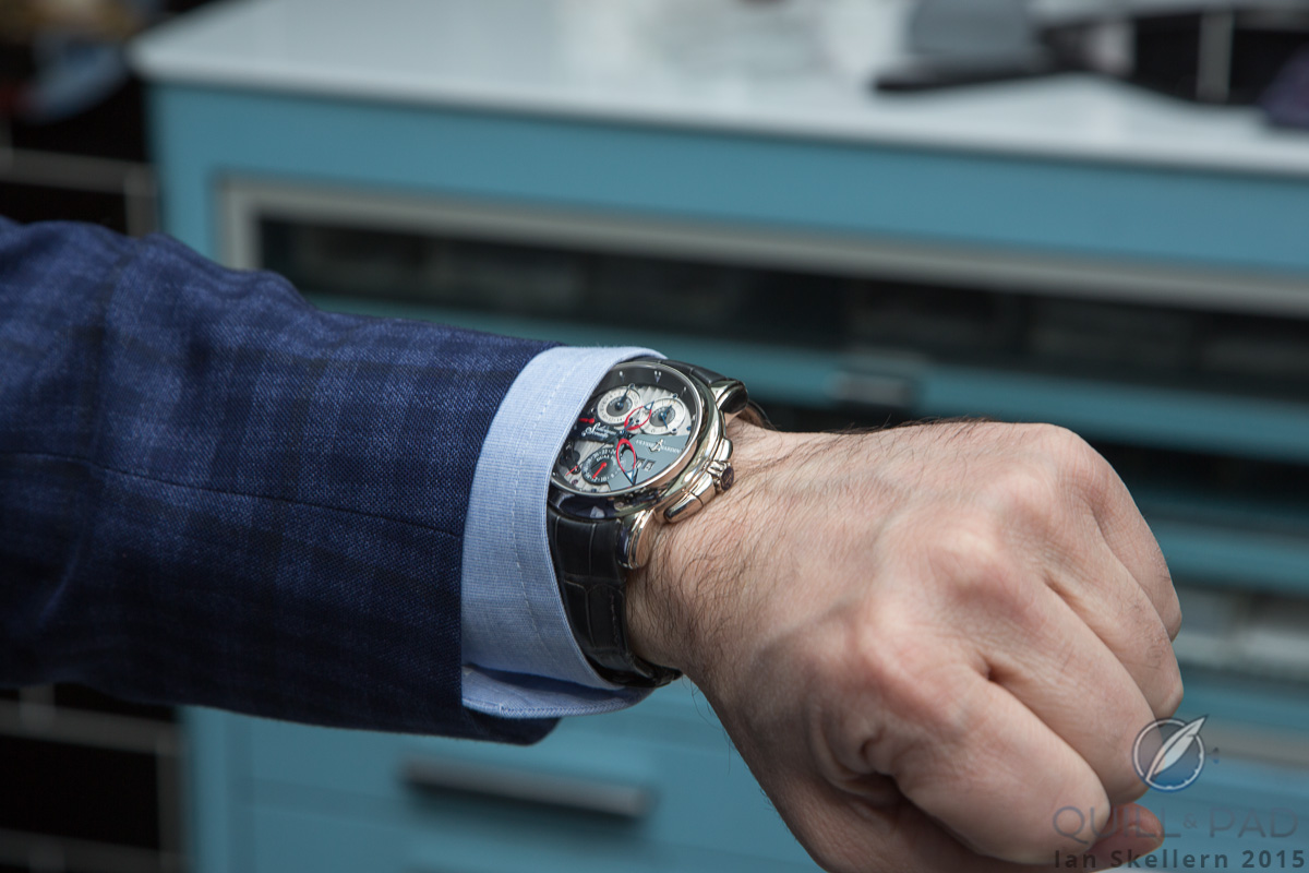 Wristshot of the Ulysse Nardin Sonata on the wrist of Mo Coppoletta