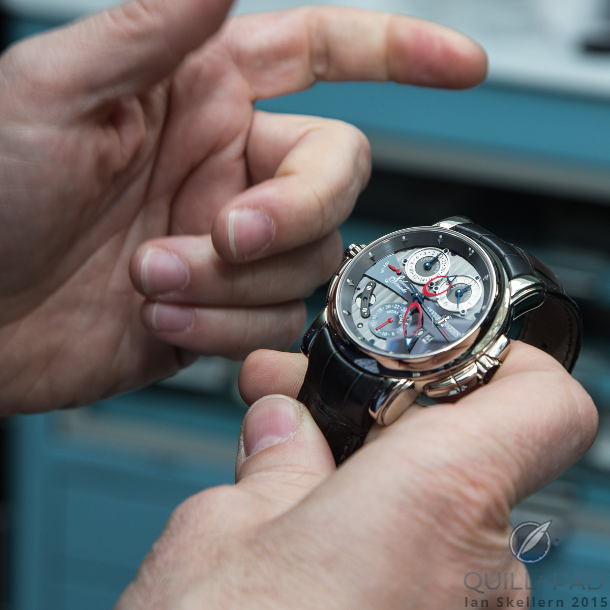 Mo Coppoletta explaining what makes this Ulysse Nardin Sonata so special to him