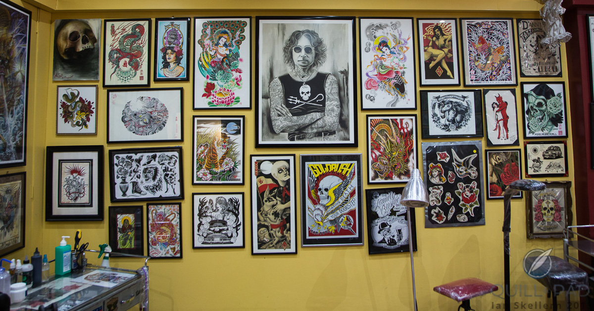 See anything you like? The inspiration wall at Mo Coppoletta's The Family Business tattoo parlor