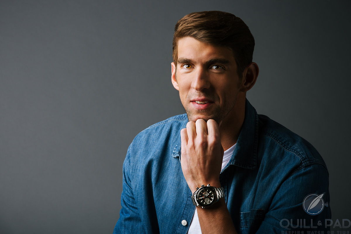 Michael Phelps wearing his stainless steel Omega Seamaster Planet Ocean 600 M