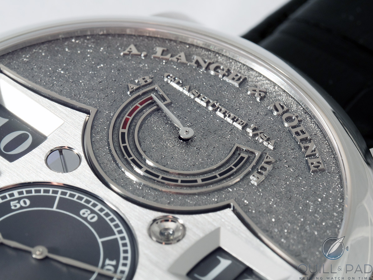 Close up look at the distinctive tremblage engraving on the dial of the A. Lange & Söhne Zeitwerk Handwerkskunst