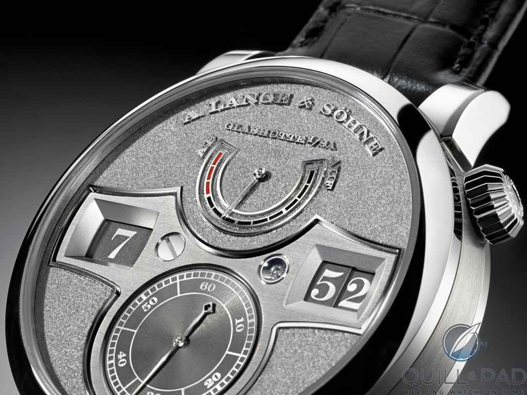 Tremblage engraving on the white-gold dial of the A. Lange & Söhne Zeitwerk Handwerkskunst