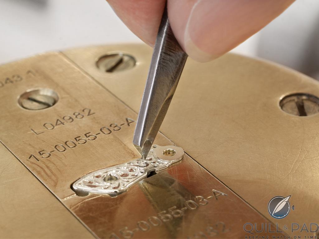 Hand engraving a balance cock for the A. Lange & Söhne Zeitwerk Handwerkskunst