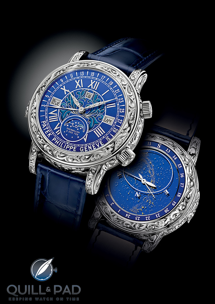 Both faces of the Patek Philippe Sky Moon Tourbillon