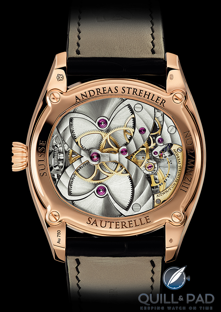 The elegent butterfly movement of the Sauterelle à Lune Perpétuelle