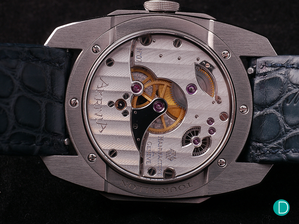 """The hand finished movement features the """"Côtes de Genève"""" finishing"""