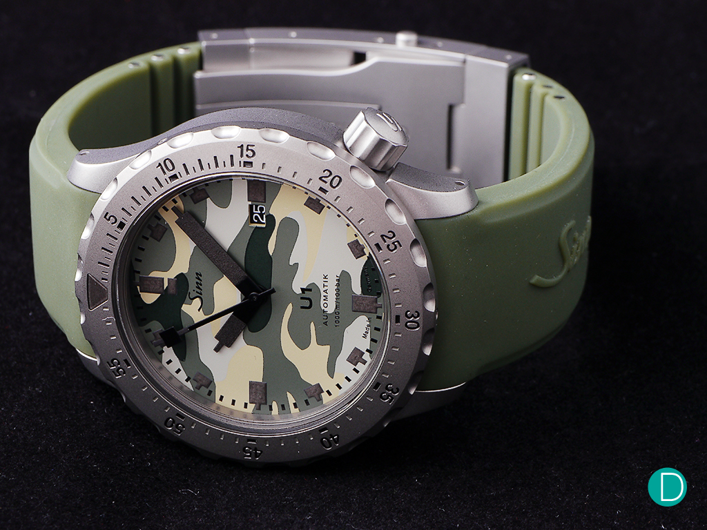 The Sinn U1. This one is the Camo version, which adds an interesting touch to a serious tool watch replica .