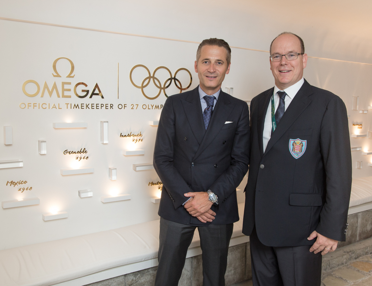 R. Aeschlimann and HSH Prince Albert II of Monaco Omega House Rio 2016