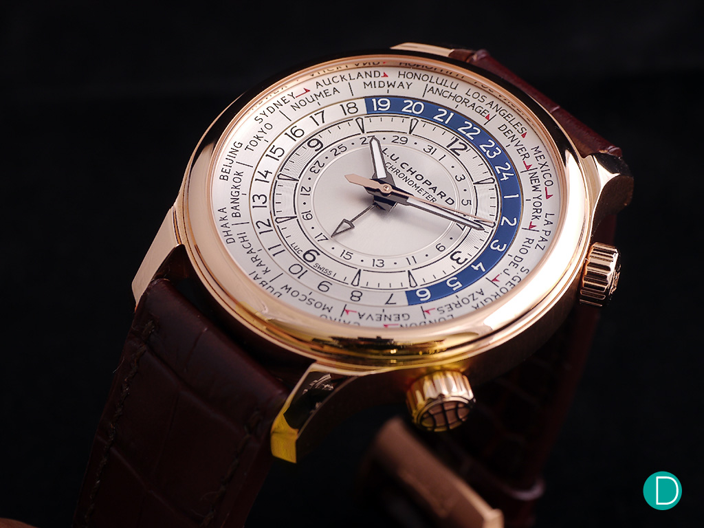 The Chopard L.U.C. Time Traveler in rose gold looks very sober and understated, much like a classical world time